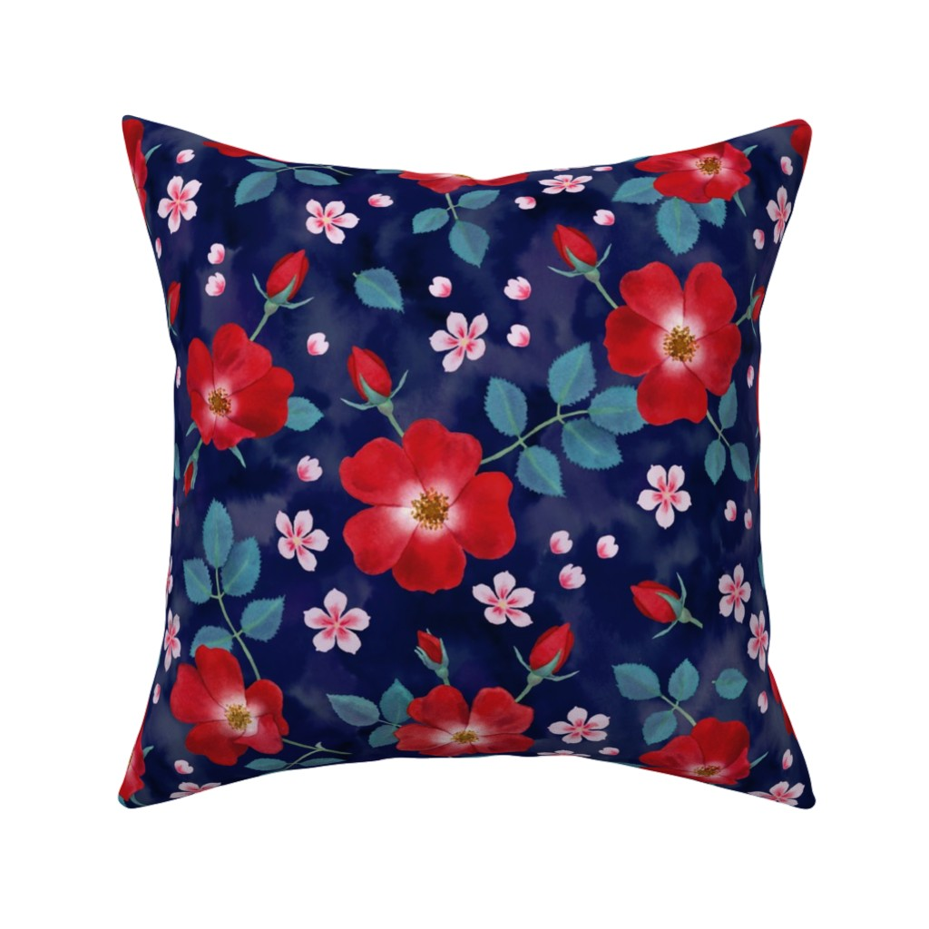 Catalan Throw Pillow featuring Moody Wild Roses by nadyabasos