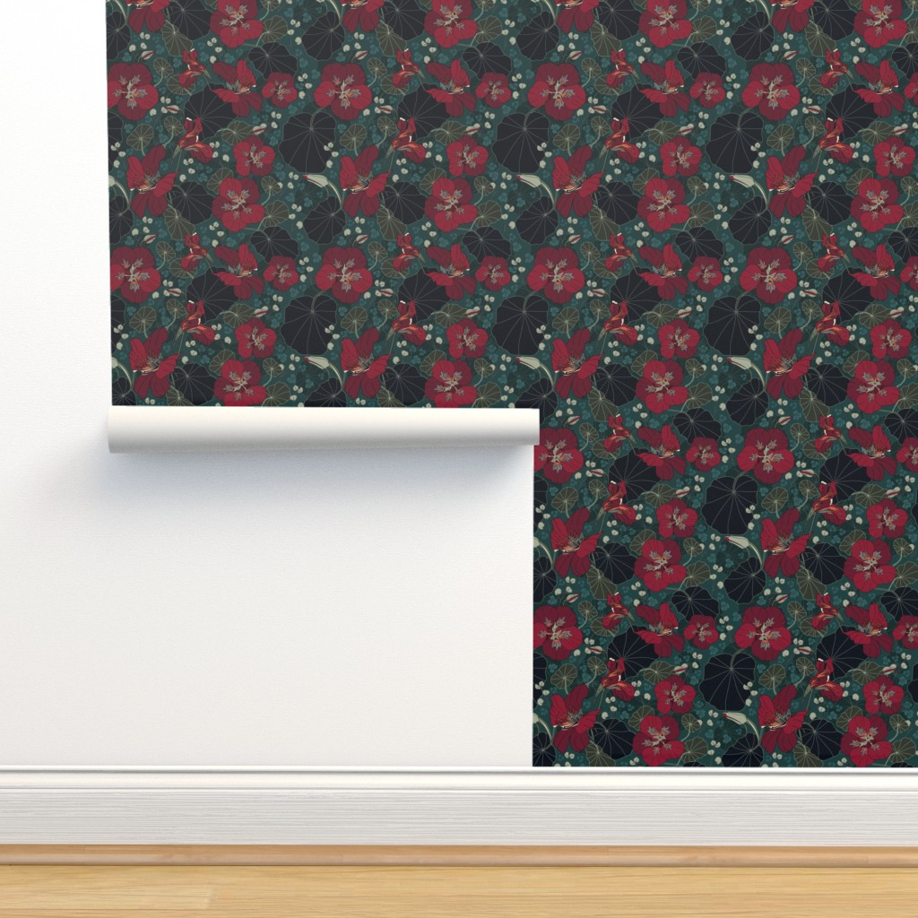 Isobar Durable Wallpaper featuring Nasturtiums (moody florals palette) by creative_catmint