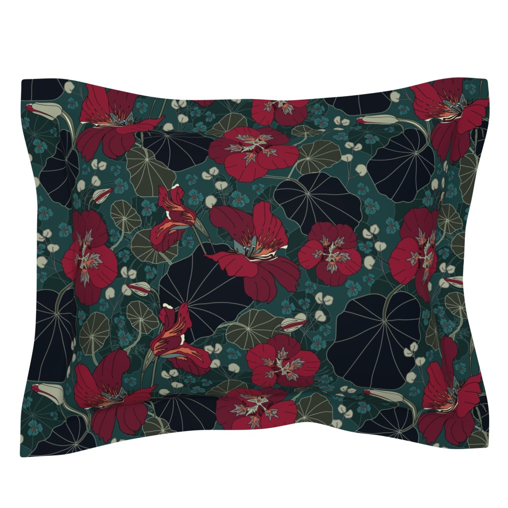 Sebright Pillow Sham featuring Nasturtiums (moody florals palette) by creative_catmint
