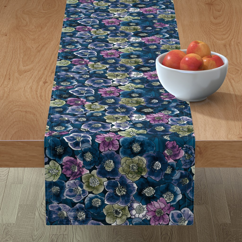 Minorca Table Runner featuring Hellebore's got the blues by stasiajahadi