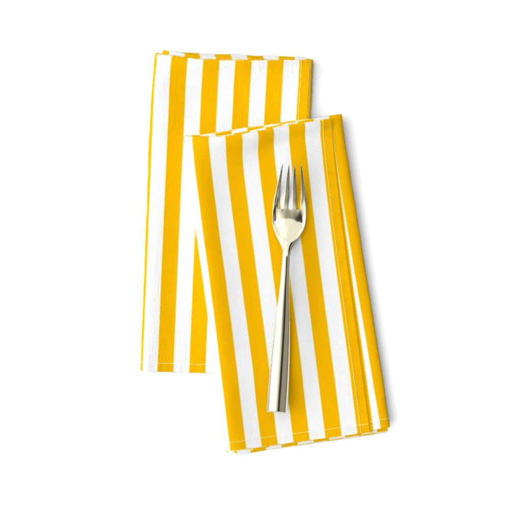 Amarela Dinner Napkins featuring Bold Yellow and White Stripes by jennyallsorts
