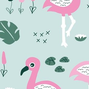 Flamingo love sweet jungle paradise and river summer print girls mint pink green JUMBO