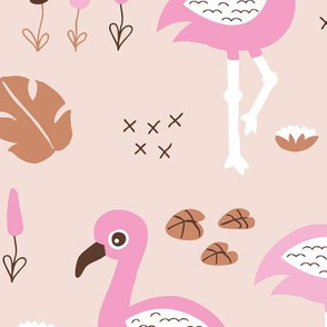 Flamingo love sweet jungle paradise and river summer print girls pink JUMBO