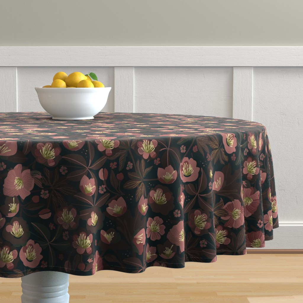 Malay Round Tablecloth featuring Moody helleborus | blush brown by camcreative