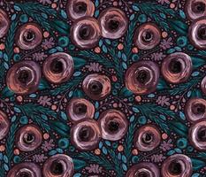Painted Peonies Moody Floral - Plum