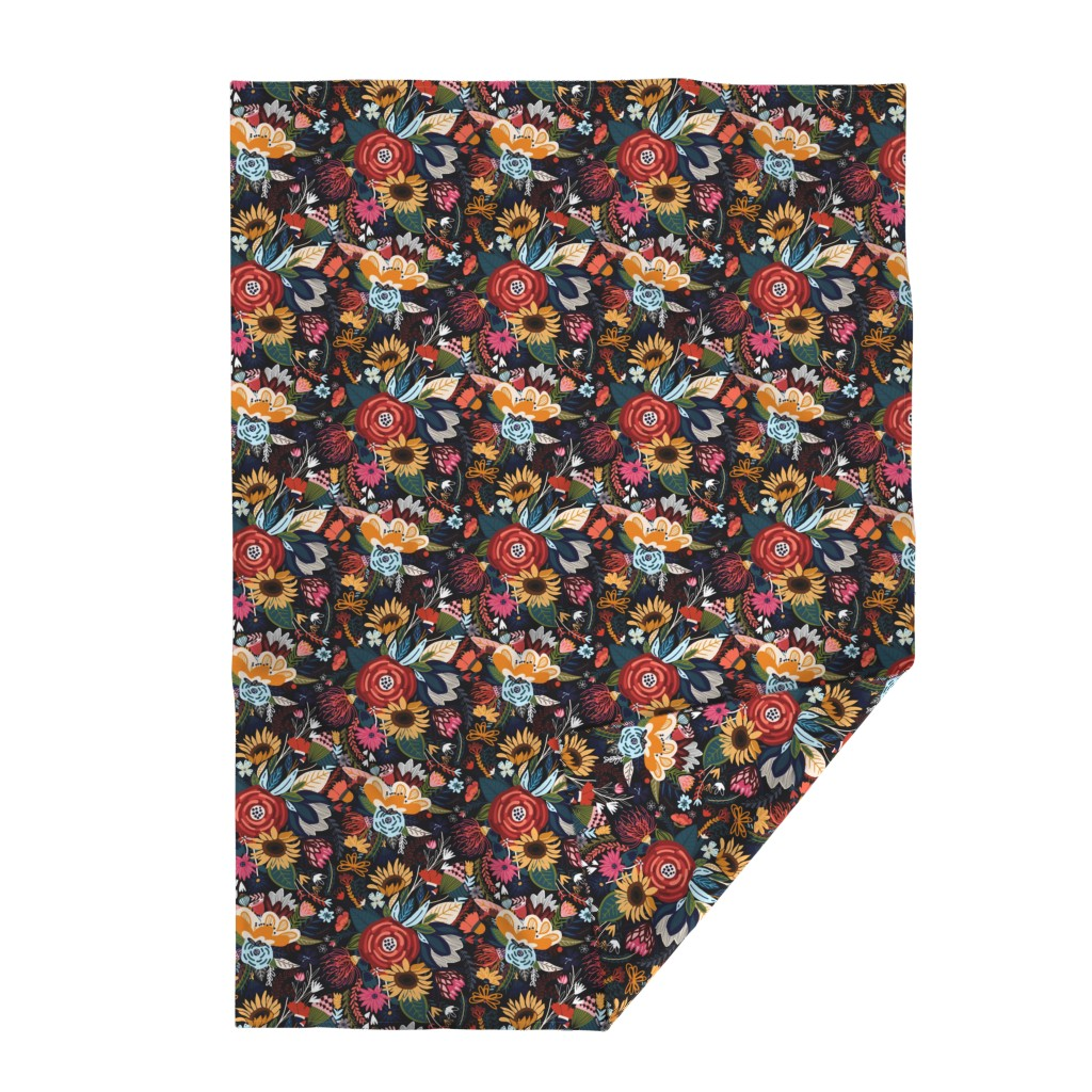 Lakenvelder Throw Blanket featuring Popping Moody Floral - Large  by tigatiga