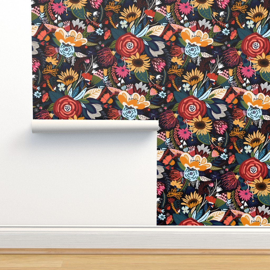 Isobar Durable Wallpaper featuring Popping Moody Floral - Large  by tigatiga