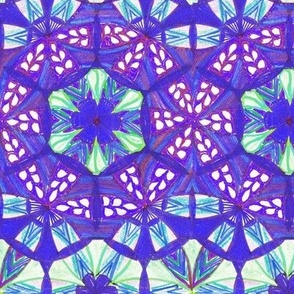 Flowers Mandala Border Pattern Fabric 2