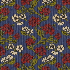 Victorian flowers textured upholstery fabric
