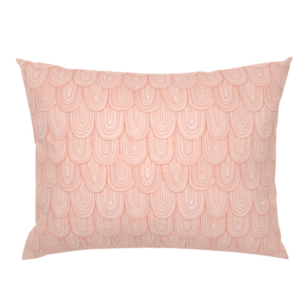 Campine Pillow Sham featuring Inscribed - Blush Pink Tonal Regular Scale by heatherdutton