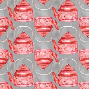 19-03B Farmhouse Tea Teapot Red Gray