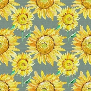 19-03A Sunflower Watercolor Floral Gray Green Wood