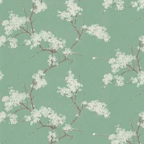 Vintage Cherry Blossoms - Jade