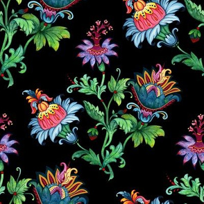 Whimsical flowers. Black background
