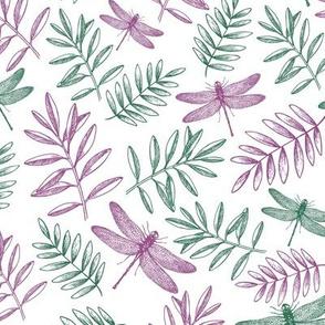 Purple And Green Dragonflies Garden