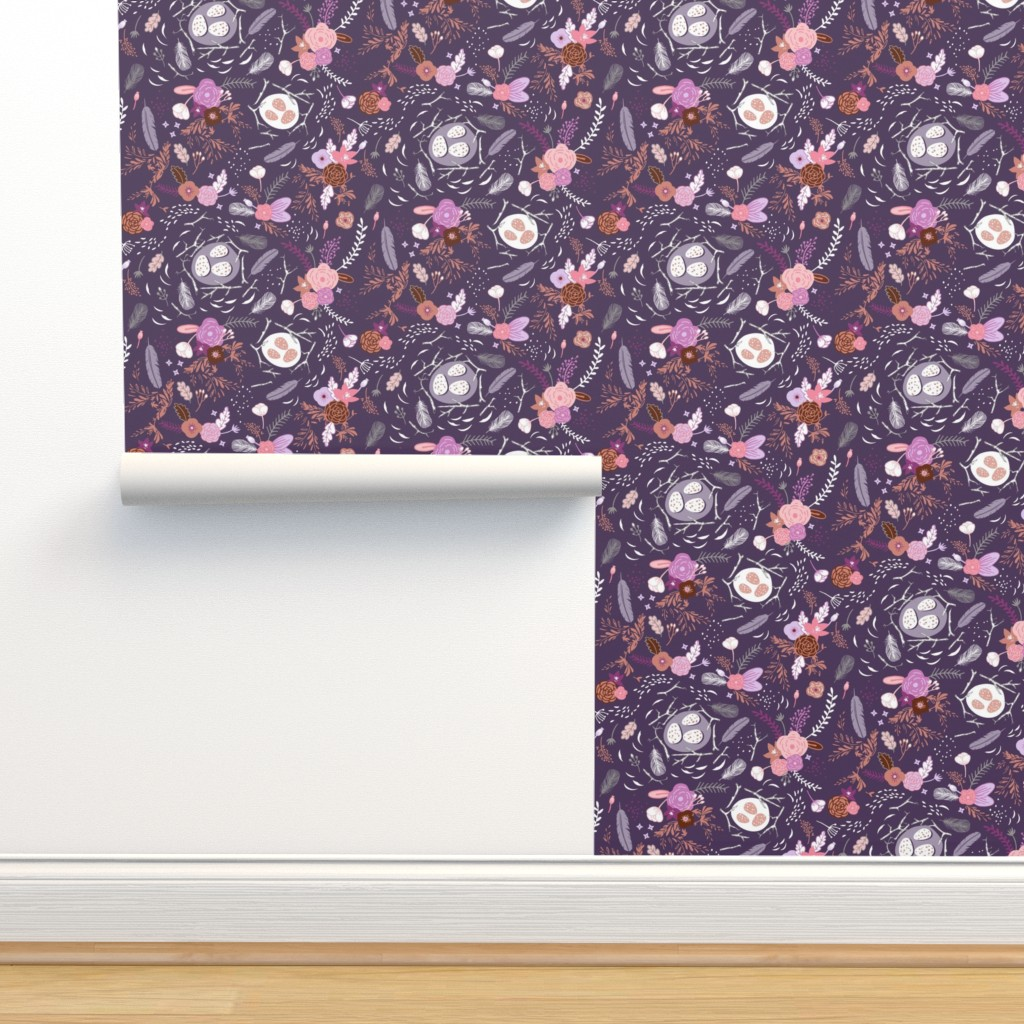 Isobar Durable Wallpaper featuring Flowers + Feathers (purple)  by nouveau_bohemian