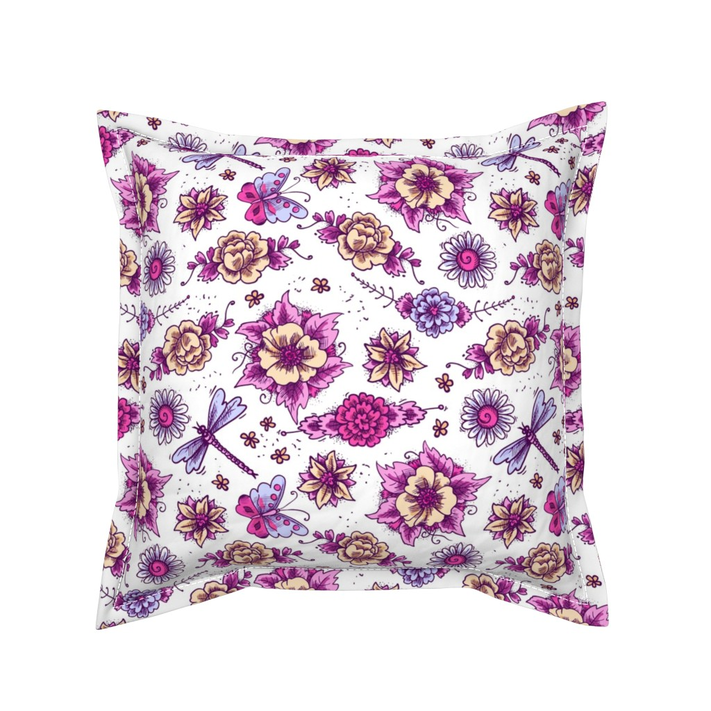 Serama Throw Pillow featuring Violet And Blue Floral Hues by gypsea_art_designs