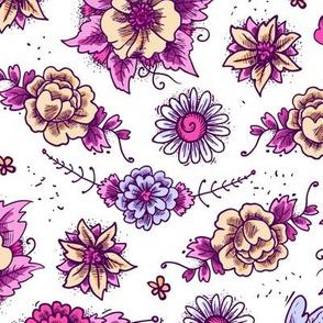 Violet And Blue Floral Hues