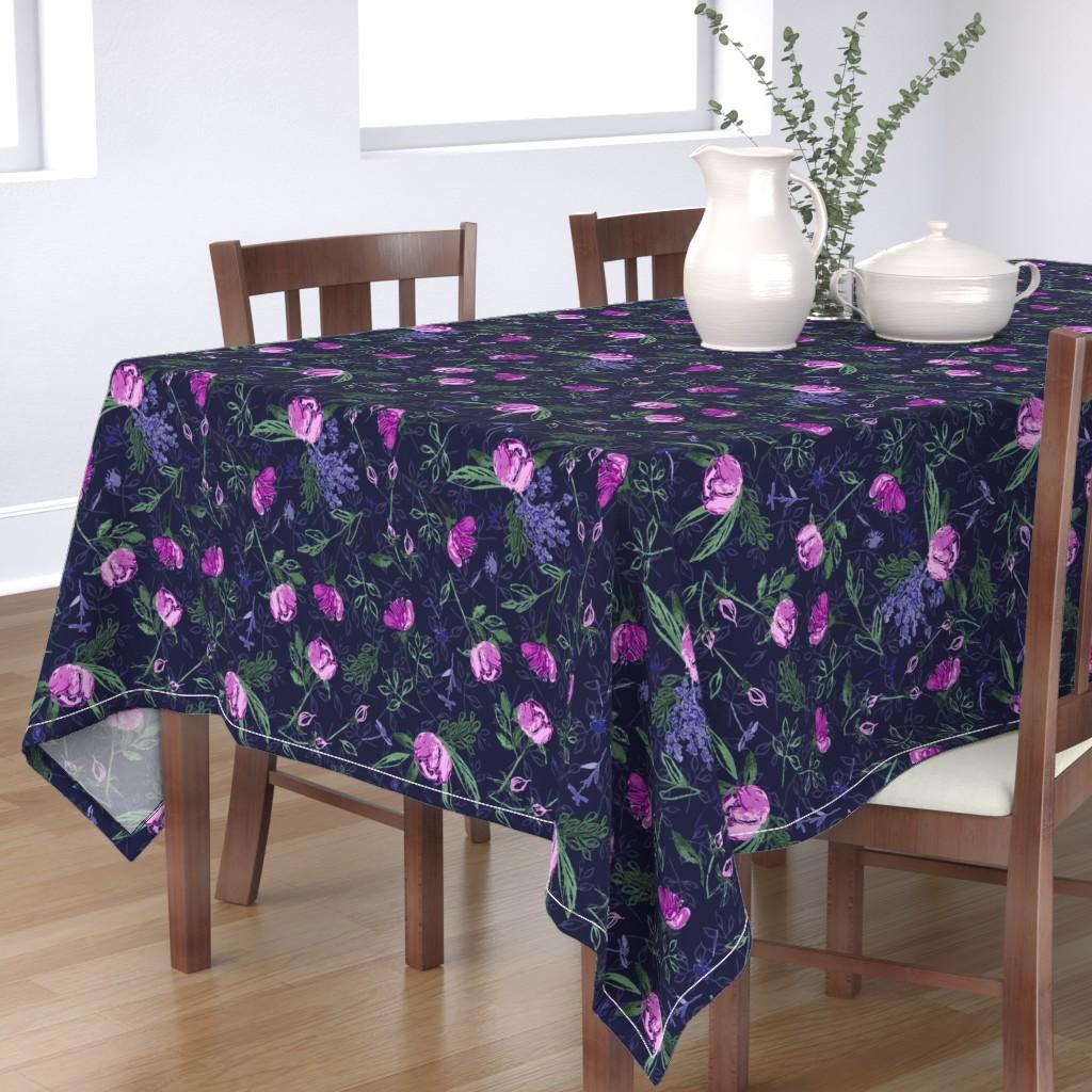Bantam Rectangular Tablecloth featuring Night Roses by sarahnussbaumer
