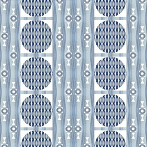 Primal Patterns In Silver and White and Blue 2