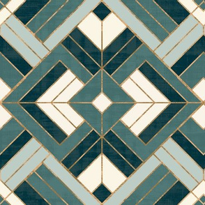 Lennox Vintage Deco Teal Cream