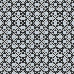 Silver and Black Small Scale Bullseye Polka Dot