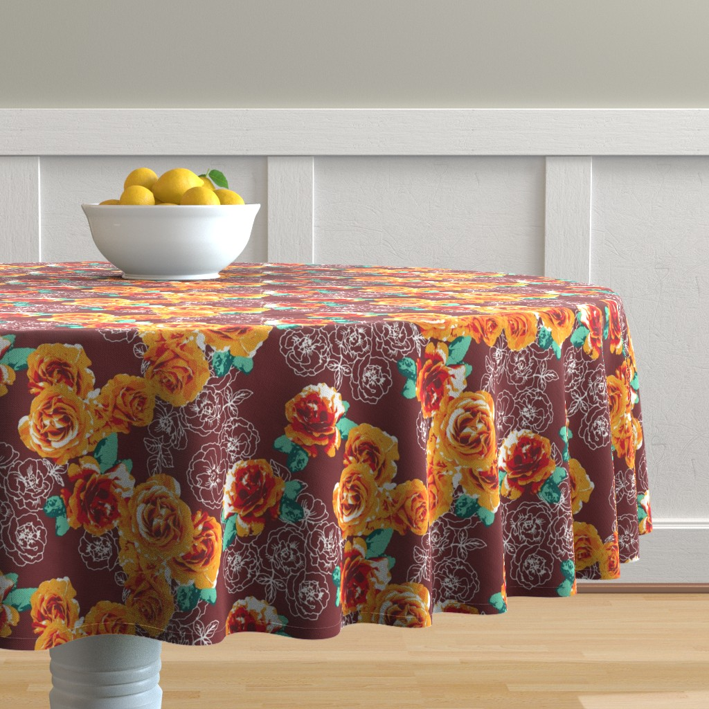 Malay Round Tablecloth featuring Rosesonblue by susanna_nousiainen
