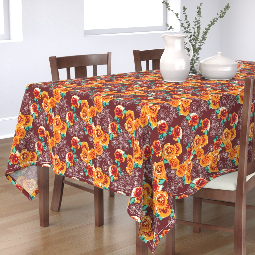 Bantam Rectangular Tablecloth featuring Rosesonblue by susanna_nousiainen