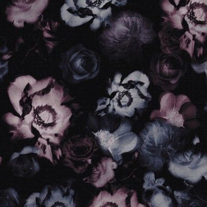 Moody Dark Floral on black purple blue roses peonies