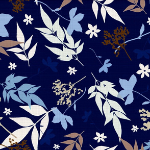 navy floral linen leaves