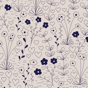 Cutsie Floral - Navy and Cream