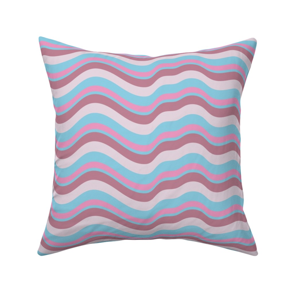 Catalan Throw Pillow featuring Wavy Stripes Abstract Blue Pink Mauve by unblinkstudio-by-jackietahara