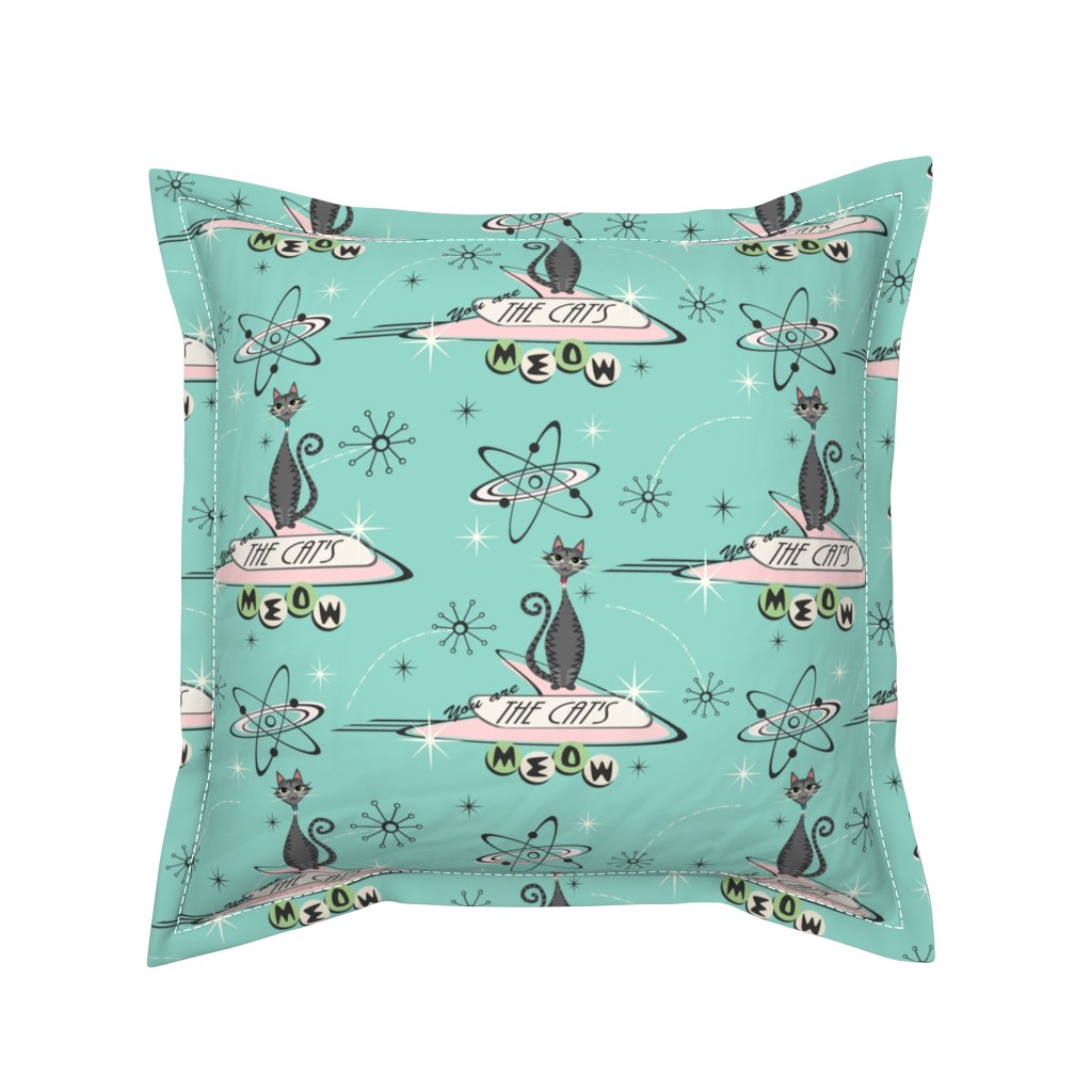 Serama Throw Pillow featuring The Cat's Meow - Tabbies on Aqua by studioxtine