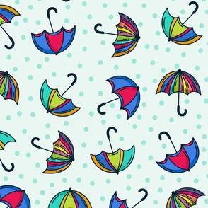 Colorful Umbrellas Polka Dots
