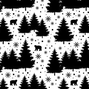 winter christmas trees with bears - medium scale black