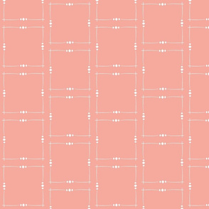 Coral Pink and White Squares  With Diamonds