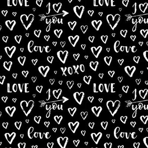 i love you, arrows, hearts - small scale black and white