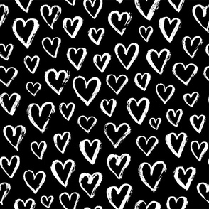 valentines hearts - large scale black and white