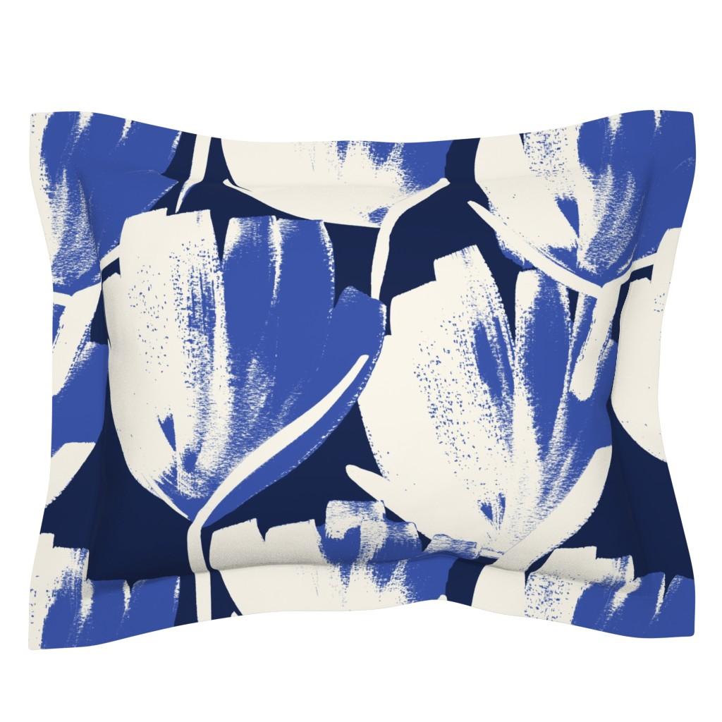 Sebright Pillow Sham featuring Jumbo indigo flowers by juliaschumacher
