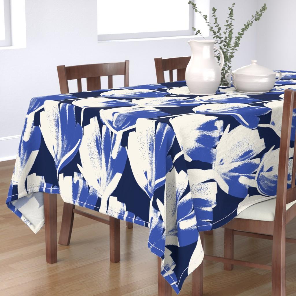 Bantam Rectangular Tablecloth featuring Jumbo indigo flowers by juliaschumacher