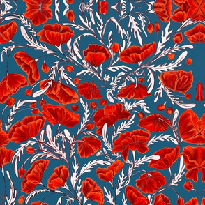 Poppies - Yale Blue