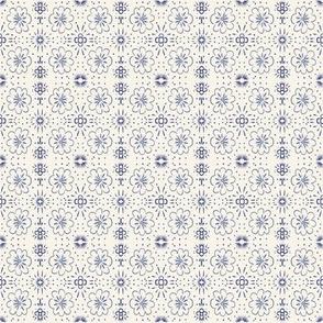 Indigo Cream Floral Stripe
