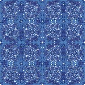 Indigo Blue Denim Abstract Floral
