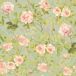"""21""""  Pierre-Joseph Redouté Roses,Antique Victorian rose for nursery home decor or fashion on green"""