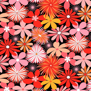 Pink and Red Retro Floral