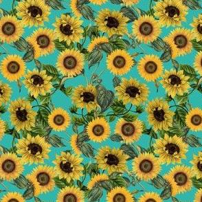 "4"" Vintage Sunflowers on Teal  sunflower fabric, sunflowers fabric"