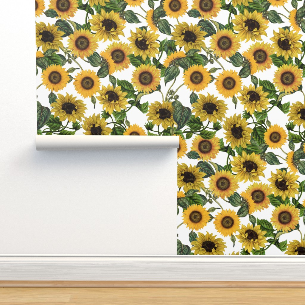 Isobar Durable Wallpaper featuring Sunflowers forever  - Sunflowers fabric ,sunflower fabric by utart