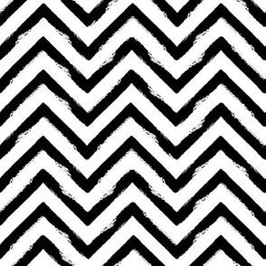 abstract grungy chevron stripes - medium scale black