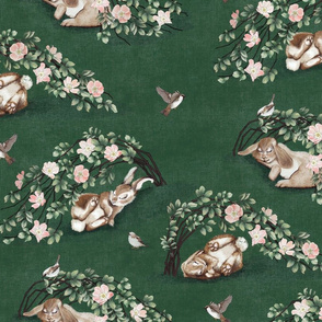 Bunny Brair Emerald Green, wild rose woodland animal sparrow bird fern baby kid girl