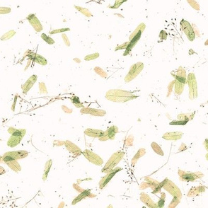 faux mulberry paper -  green, gold and peach leaves